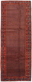 Hamadan Rug 133X357 Authentic  Oriental Handknotted Hallway Runner  Dark Red/Brown (Wool, Persia/Iran)