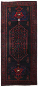 Hamadan Teppe 132X303 Ekte Orientalsk Håndknyttet Teppeløpere Svart/Mørk Rød (Ull, Persia/Iran)