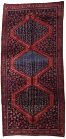 Hamadan Rug 160X347 Authentic Oriental Handknotted Hallway Runner Dark Purple/Dark Red (Wool, Persia/Iran)