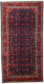 Hamadan Rug 156X305 Authentic  Oriental Handknotted Hallway Runner  Dark Purple/Dark Red (Wool, Persia/Iran)