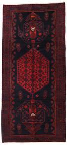 Hamadan Rug 142X305 Authentic  Oriental Handknotted Hallway Runner  Dark Green/Dark Red (Wool, Persia/Iran)