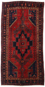 Hamadan Rug 148X294 Authentic  Oriental Handknotted Hallway Runner  Dark Green/Dark Red/Rust Red (Wool, Persia/Iran)