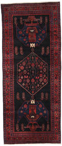 Hamadan Rug 126X309 Authentic  Oriental Handknotted Hallway Runner  Dark Green/Dark Red (Wool, Persia/Iran)
