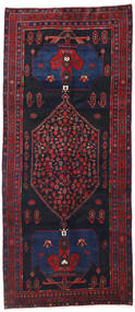 Hamadan Tæppe 133X313 Ægte Orientalsk Håndknyttet Tæppeløber Mørkelilla/Mørkerød (Uld, Persien/Iran)