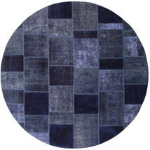 Patchwork Rug Ø 254 Authentic  Modern Handknotted Round Dark Purple/Dark Blue Large (Wool, Persia/Iran)