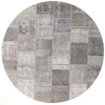 Patchwork Rug Ø 250 Authentic  Modern Handknotted Round Light Grey Large (Wool, Persia/Iran)