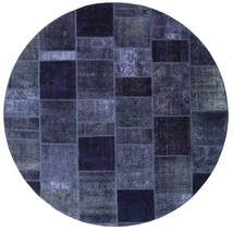 Patchwork Rug Ø 256 Authentic  Modern Handknotted Round Dark Purple/Blue Large (Wool, Persia/Iran)