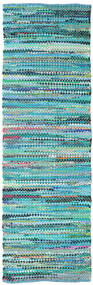 Ronja - Green Rug 80X350 Authentic  Modern Handwoven Hallway Runner  Turquoise Blue/Turquoise Blue (Cotton, India)