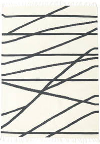 Cross Lines - Off White/Black Rug 140X200 Authentic  Modern Handwoven Beige/Dark Grey (Wool, India)