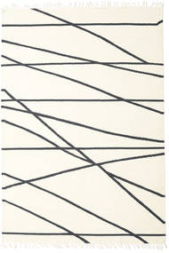 Cross Lines - Off White/Black Rug 200X300 Authentic  Modern Handwoven Beige/Dark Grey (Wool, India)