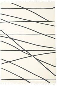 Cross Lines - Off White/Fekete Szőnyeg 250X350 Modern Kézi Szövésű Bézs/Sötétszürke Nagy (Gyapjú, India)