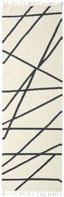 Cross Lines - Kość Słoniowa/Czarny Dywan 80X250 Nowoczesny Tkany Ręcznie Chodnik Beżowy/Ciemnoniebieski (Wełna, Indie)