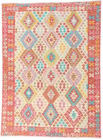 Kelim Afghan Old Style Matto 180X242 Itämainen Käsinkudottu Vaaleanpunainen/Tummanbeige (Villa, Afganistan)