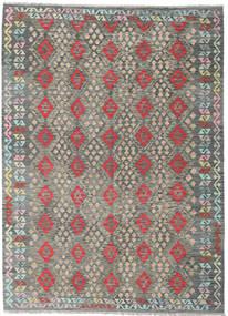 Kilim Afghan Old Style Rug 215X297 Authentic  Oriental Handwoven Light Grey/Dark Grey (Wool, Afghanistan)