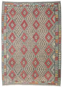 Kilim Afghan Old Style Rug 213X294 Authentic  Oriental Handwoven Light Grey/Dark Grey (Wool, Afghanistan)