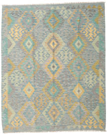 Kilim Afghan Old Style Rug 5′3″x6′4″ Authentic  Oriental Handwoven Light Grey/Dark Beige (Wool, Afghanistan)