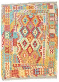 Kelim Afghan Old Style Vloerkleed 154X205 Echt Oosters Handgeweven Donkerbeige/Rood (Wol, Afghanistan)