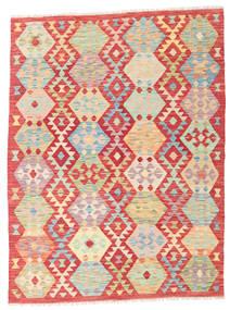Kilim Afghan Old Style Rug 4′11″x6′7″ Authentic  Oriental Handwoven Beige/Rust Red (Wool, Afghanistan)