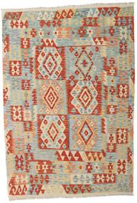 Kilim Afghan Old Style Tapis 162X235 D'orient Tissé À La Main Beige Foncé/Rouge (Laine, Afghanistan)