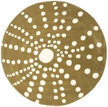 Sjöborre Handtufted - Olivově Koberec Ø 200 Moderní Oválný Olivově Zelený/Béžová (Vlna, Indie)