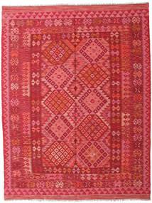Kilim Afghan Old Style Rug 176X233 Authentic  Oriental Handwoven Crimson Red/Pink (Wool, Afghanistan)