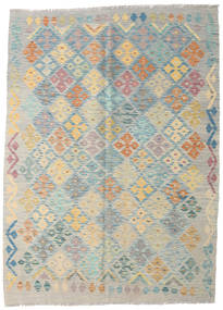 Kilim Afghan Old Style Rug 143X197 Authentic  Oriental Handwoven Light Grey/Turquoise Blue (Wool, Afghanistan)