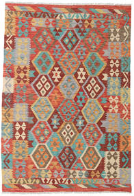 Kilim Afghan Old Style Rug 4′1″x6′ Authentic  Oriental Handwoven Light Brown/Orange (Wool, Afghanistan)