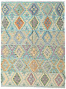 Kelim Afghan Old Style Matto 145X193 Itämainen Käsinkudottu Vaaleanharmaa/Tummanbeige (Villa, Afganistan)