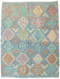 Kilim Afghan Old Style Rug 150X193 Authentic  Oriental Handwoven Turquoise Blue/Light Grey (Wool, Afghanistan)