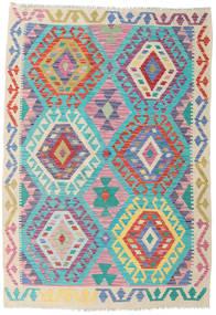Kelim Afghan Old Style Matto 126X182 Itämainen Käsinkudottu Beige/Vaaleanharmaa (Villa, Afganistan)