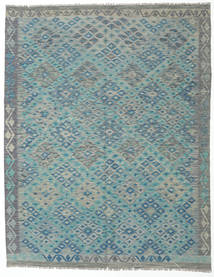 Kelim Afghan Old Style Matto 193X245 Itämainen Käsinkudottu Vaaleanharmaa/Tumma Turkoosi (Villa, Afganistan)