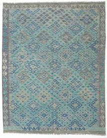 Kelim Afghan Old Style Matta 193X245 Äkta Orientalisk Handvävd Ljusgrå/Mörk Turkos (Ull, Afghanistan)