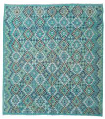 Kelim Afghan Old Style Matta 220X242 Äkta Orientalisk Handvävd Turkosblå/Ljusgrå (Ull, Afghanistan)