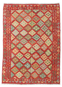Kilim Afghan Old Style Rug 177X241 Authentic  Oriental Handwoven Rust Red/Olive Green (Wool, Afghanistan)