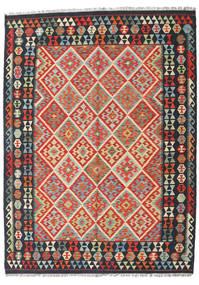 Kilim Afghan Old Style Alfombra 181X245 Oriental Tejida A Mano Gris Oscuro/Óxido/Roja (Lana, Afganistán)