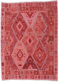 Kilim Afghan Old Style Rug 185X253 Authentic  Oriental Handwoven Crimson Red/Pink (Wool, Afghanistan)