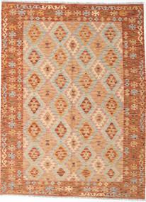 Kilim Afghan Old Style Tapis 188X244 D'orient Tissé À La Main Marron Clair/Rose Clair (Laine, Afghanistan)