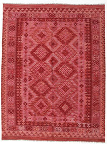 Kilim Afghan Old Style Rug 181X237 Authentic  Oriental Handwoven Crimson Red/Rust Red (Wool, Afghanistan)