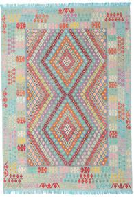 Kilim Afghan Old Style Alfombra 203X288 Oriental Tejida A Mano Gris Claro/Violeta Claro (Lana, Afganistán)