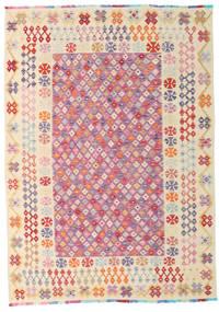 Kilim Afgán Old Style Szőnyeg 205X288 Keleti Kézi Szövésű Világos Rózsaszín/Sötét Bézs (Gyapjú, Afganisztán)