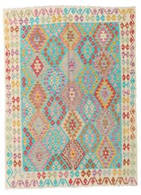 Kelim Afghan Old Style Vloerkleed 173X232 Echt Oosters Handgeweven Beige/Donkerbeige (Wol, Afghanistan)