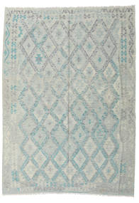Kilim Afghan Old Style Rug 210X288 Authentic  Oriental Handwoven Light Grey/Turquoise Blue/Light Green (Wool, Afghanistan)
