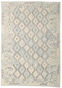 Kelim Afghan Old Style Tæppe 210X294 Ægte Orientalsk Håndvævet Lysegrå/Beige (Uld, Afghanistan)