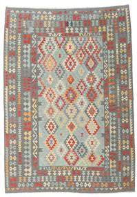 Kilim Afghan Old Style Rug 204X286 Authentic  Oriental Handwoven Light Grey/Dark Grey (Wool, Afghanistan)