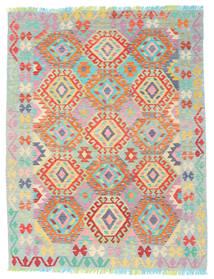 Kilim Afghan Old Style Tapis 148X193 D'orient Tissé À La Main Gris Clair/Orange (Laine, Afghanistan)