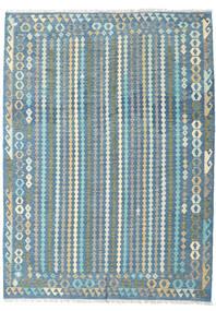 Kilim Afghan Old Style Rug 212X291 Authentic  Oriental Handwoven Light Blue/Light Grey (Wool, Afghanistan)