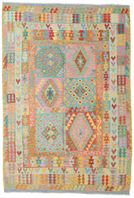 Kilim Afghan Old Style Rug 208X307 Authentic  Oriental Handwoven Dark Beige/Beige (Wool, Afghanistan)