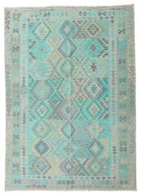 Kilim Afghan Old Style Alfombra 203X285 Oriental Tejida A Mano Verde Pastel/Gris Claro (Lana, Afganistán)