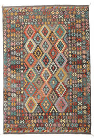 Kilim Afghan Old Style Rug 210X303 Authentic  Oriental Handwoven Light Brown/Dark Brown (Wool, Afghanistan)