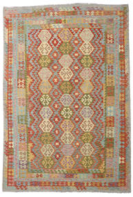 Kilim Afghan Old Style Rug 200X293 Authentic  Oriental Handwoven Dark Red/Light Grey (Wool, Afghanistan)